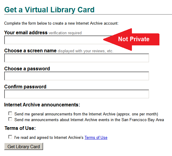 entry form for creating an account, entitled Get a Virtual Library Card, containing fields for your: email address, screen name, password, Archive announcement options, and agreement to terms of use