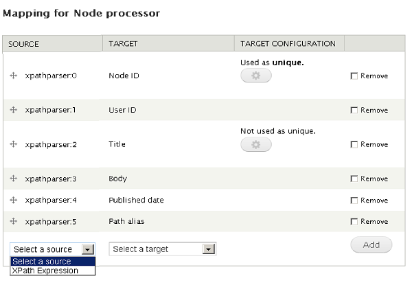node processor mapping screen