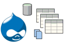 Drupal logo surrounded by data-related icons