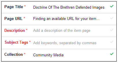 Required fields shown for Page Title, Page URL, Description, Subject Tags, and Collection