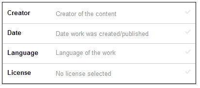 Recommended fields shown for Creator, Date, Language, and License