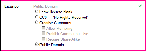 dropdown radio buttons for license field which include: Leave license blank; CC0 - No rights reserved; Creative Commons with sub-options; and Public Domain