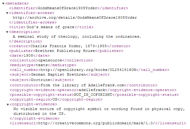 sample code from the top of the meta.xml file for item entitled Gods means of Grace