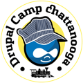 Drupal icon with railroad engineer hat