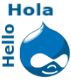 Drupal icon saying Hola and Hello