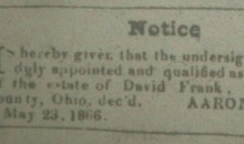 header of notice from newspaper