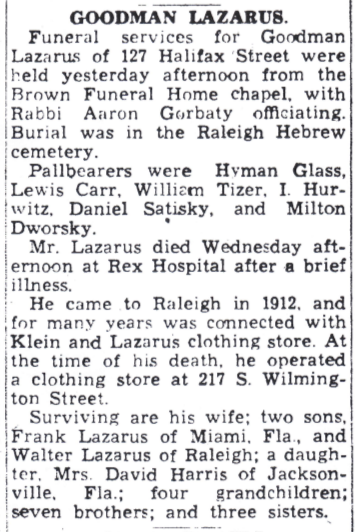Obituary of Goodman Lazarus from News and Observer (Raleigh, North