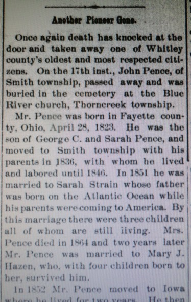 first section of obituary