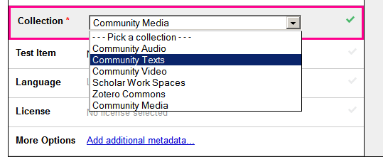 dropdown shown for Collection with Community Texts selected