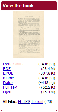 View the book section of page with list of formats